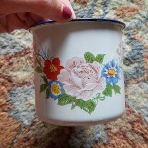 Vintage floral enamel cup